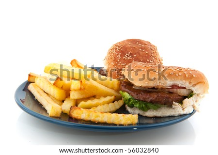 Hamburger with bread and French fries on plate