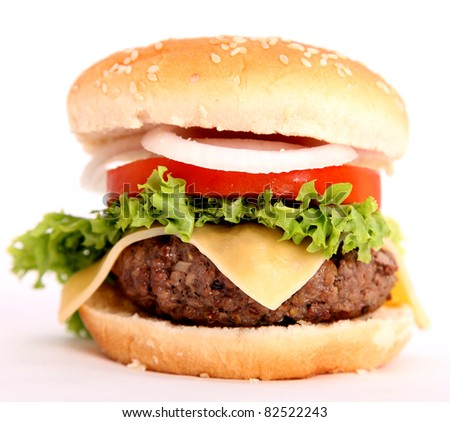 hamburger with bread,tomato,onion,lettuce,meat,cheese,ham, isolated over white background
