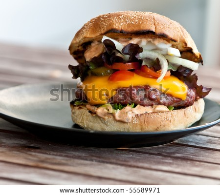 Hamburger with cheese - stock photo