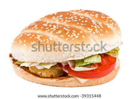 Hamburger with cheese and meat on a white background