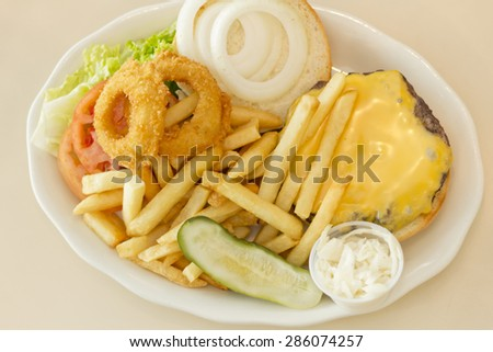 Hamburger with cheese pickle fries and just about everything