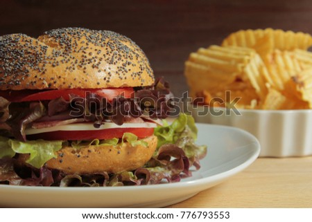 hamburger with cheese tomato and salad with fries garnish