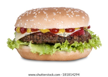 Hamburger with cheese, tomato and sauce on white background
