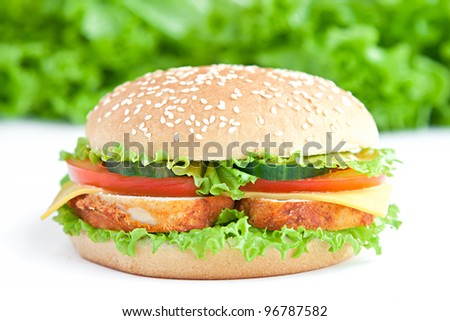 hamburger with chicken and vegetables