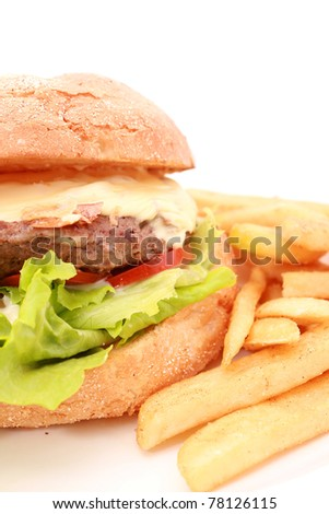 Hamburger with chips isolated on white - stock photo