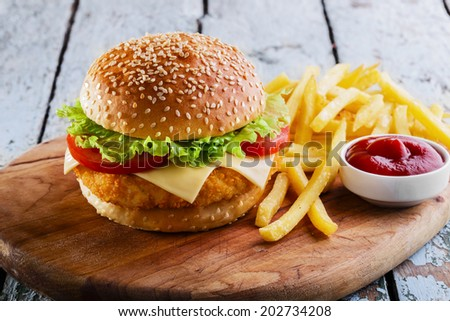 hamburger with cutlet breaded  - stock photo