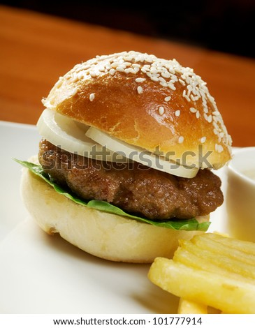 Hamburger with french fries. closeup