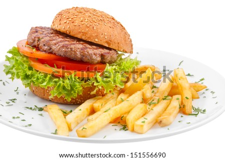 Hamburger with french fries isolated on white