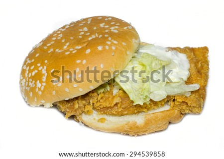 Hamburger with fried chicken on white background.