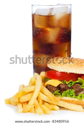 hamburger with fries and cola on white background