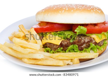 hamburger with fries on a white background - stock photo