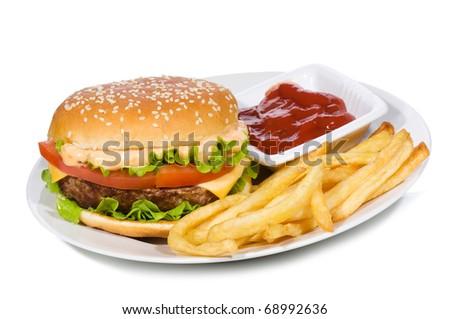 hamburger with fries on white background - stock photo