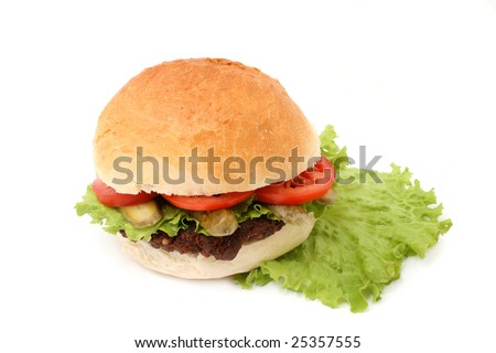 hamburger with lettuce isolated on white