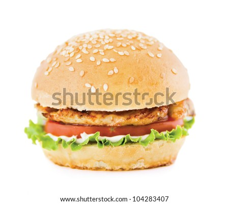 hamburger with meat on a white background