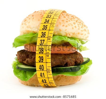 hamburger with meter diet concept - stock photo