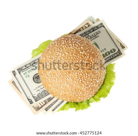 Hamburger with money on the white background - stock photo