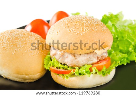 hamburger with pork and  fresh vegetable