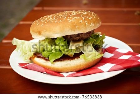 hamburger with salad and meat - stock photo