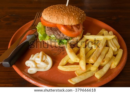 Hamburger with salad and tomatoes matched by fried potatoes and mayonnaise on a table