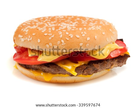 Hamburger with steak, cheese and  tomatoes, isolated on white background