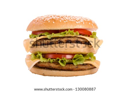 Hamburger with tomatoes, cheese and salad