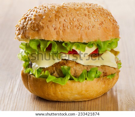 Hamburger with  vegetables on a wooden table. Selective focus