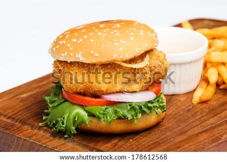 hamburgers, fish - stock photo