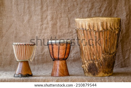hamdmade percussion instruments - stock photo