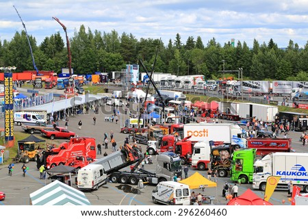 HAMEENLINNA, FINLAND - JULY 11, 2015: General view to Tawastia Truck Weekend 2015, one of the biggest truck meetings in South of Finland. - stock photo