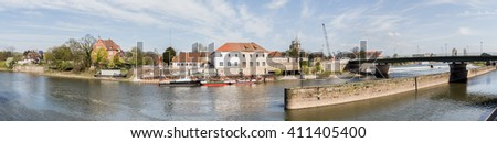 hameln and the weser river in germany high defintion panorama
