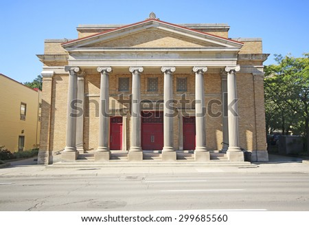 HAMILTON, ONTARIO - JULY 20, 2015: First Pilgrim United Church, Hamilton. Hamilton is the centre of a densely populated and industrialized region at the west end of Lake Ontario  - stock photo