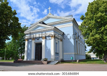 Hamina, Finland. Beautiful Lutheran church in the style of neoclassicism