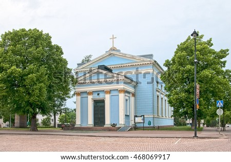 HAMINA, FINLAND - JUNE 26, 2016: The Lutheran Church of St John by Carl Ludvig Engel Architect. Was built in 1843