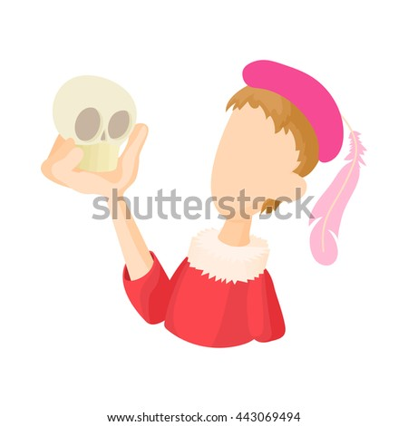 Hamlet actor icon in cartoon style on a white background - stock photo