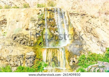 Hammamat Ma'in Hot Springs waterfall in Madaba, Jordan. - stock photo