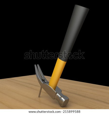 Hammer and a nails. isolated on black background 3d illustration. high resolution - stock photo