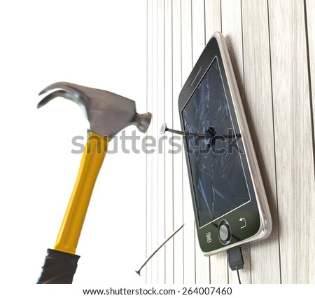 hammer and digital tablet on wooden desk with nails concept background - stock photo