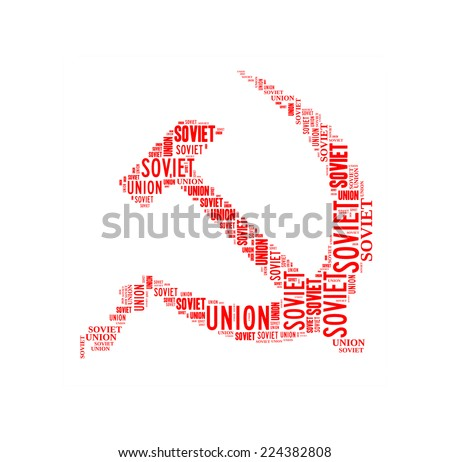 Hammer and sickle, symbol of Soviet Union, isolated on white - stock photo