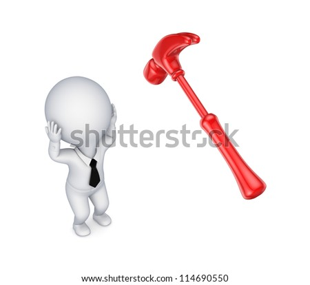 Hammer and stressed 3d small person.Isolated on white background.3d rendered. - stock photo
