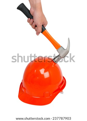 Hammer break on a construction worker's helmet isolated on white background