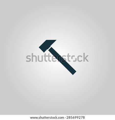 Hammer. Flat web icon or sign isolated on grey background. Collection modern trend concept design style illustration symbol - stock photo