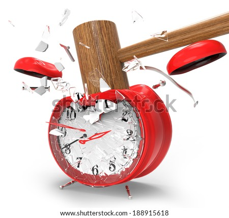 hammer hitting an alarm clock on a white background.
