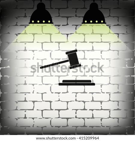Hammer judge icon. - stock photo