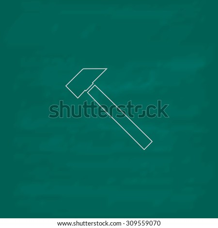 Hammer. Outline icon. Imitation draw with white chalk on green chalkboard. Flat Pictogram and School board background. Illustration symbol - stock photo