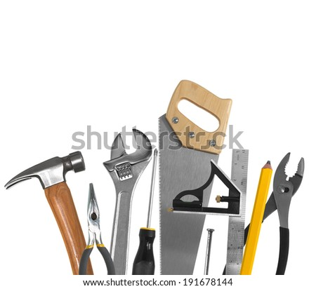 Hammer, pliers, wrench, screwdriver, saw, square ruler, nail, pencil,