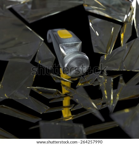 hammer smashing a glass concept background - stock photo