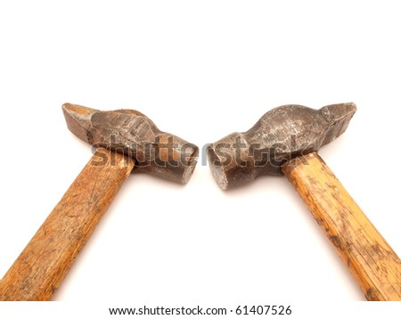 Hammers on a white background