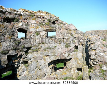 Hammershus Wall Castle Ruins on Bornholm - stock photo