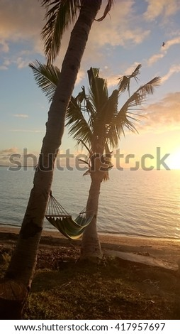Hammock between two palmtrees in the sunset