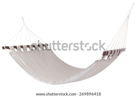 hammock of striped linen tightly woven natural color - stock photo